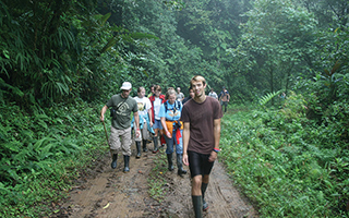 Students hike during a program tour.